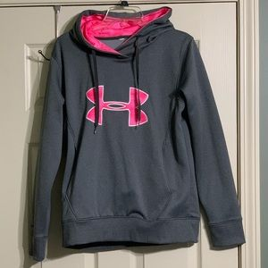 Under Armour Storm Pink Gray Ribbon Hoodie M